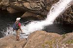 Woman hiking along Canyon Creek, Tahoe National Forest California