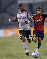 Toronto FC defender Adrian Serioux (15) chases down a long Real Salt Lake pass. Salt Lake Real defeated Toronto FC, 3-0, at Rio Tinto Stadium on June 27, 2009.