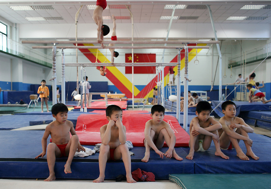 Beijing, China - 17 Feb 2006 - Small children train at the Shichahai Sports School in Beijing. The Shichahai school is one of China's more famous sports academies and one of its most visited. Criticisms of its harsh practices have been leveled by visiting Western media and sports figures periodically for more than a decade. China has a huge network of sports schools known for recruiting promising young athletes in the hopes of turning them into world champions.