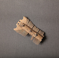 A double-sided comb made from bone with carved decoration, 9th century, from the 1995 excavations led by Francois Blary, from the North section of the upper courtyard in the kitchen area at the medieval castle of Chateau-Thierry, Picardy, France. The first fortifications on this spur over the river Marne date from the 4th century and the first castle was built in the 9th century Merovingian period by the counts of Vermandois. Thibaud II enlarged the castle in the 12th century and built the Tour Thibaud, and Thibaud IV expanded it significantly in the 13th century to include 17 defensive towers in the walls and an East and South gate. The castle was largely destroyed in the French Revolution after having been a royal palace since 1285. In 1814 it was used as a citadel for Napoleonic troops. Picture by Manuel Cohen