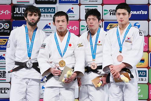 (L-R) Beslan Mudranov (RUS), Naohisa Takato, Toru Shishime (JPN), Kim Won Jin (KOR), DECEMBER 4, 2015 - Judo : IJF Grand Slam Tokyo 2015 International Judo Tournament Men's -60kg Award Ceremony at Tokyo Metropolitan Gymnasium, Tokyo, Japan. (Photo by Sho Tamura/AFLO SPORT)