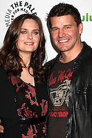 "LOS ANGELES - MAR 8:  Emily Deschanel; David Boreanaz arrives at the ""Bones"" Event at PaleyFest 2012 at the Saban Theater on March 8, 2012 in Los Angeles, CA"