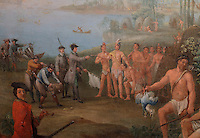 Europeans landing in America, oil painting, early 18th century, in the Musee d'Aquitaine, Cours Pasteur, Bordeaux, Aquitaine, France. This scene takes place in the Southern USA or the Antilles, <br /> with the captain holding a white flag and accepting a peace pipe from the Indian chief, while his men offer a barrel and tools. Picture by Manuel Cohen