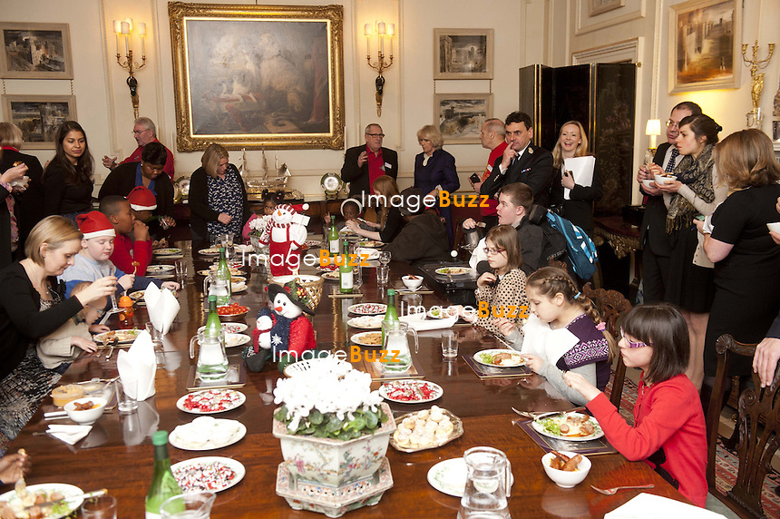 Camilla, Duchess of Cornwall, Patron of Helen & Douglas House hospice and The London Taxi drivers Fund for Underprivileged Children, will invite children supported by the charities to decorate the Christmas tree and join Her Royal Highness for lunch, Clarence House, London, December 12, 2012..
