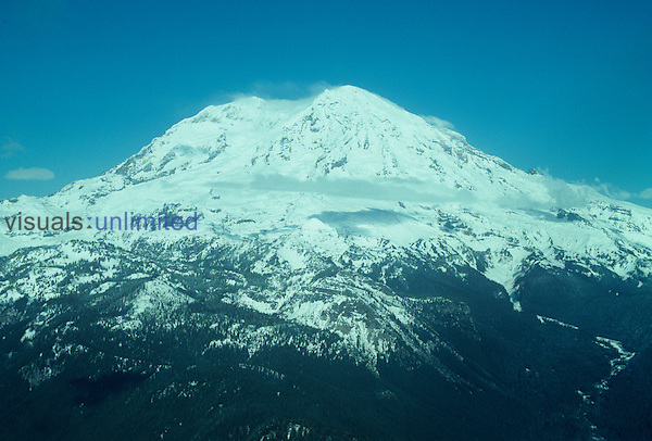 Mt. Rainier, one of the major volcanic peaks in the Cascade Mountains, Washington, USA. This is an example of a composite volcano. Note the coniferous forest, timberline, and the alpine glaciers.
