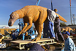 Dinosaur replica being readied for transfer by truck to the Museum of Nartural History, Los Angeles, CA