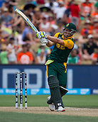 15.02.2015. Hamilton, New Zealand.  South Africa's David Miller hits a six during the ICC Cricket World Cup match - South Africa versus Zimbabwe at Seddon Park, Hamilton, New Zealand on Sunday 15 February 2015.