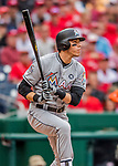 3 April 2017: Miami Marlins outfielder Christian Yelich in action against the Washington Nationals on Opening Day at Nationals Park in Washington, DC. The Nationals defeated the Marlins 4-2 to open the 2017 MLB Season. Mandatory Credit: Ed Wolfstein Photo *** RAW (NEF) Image File Available ***
