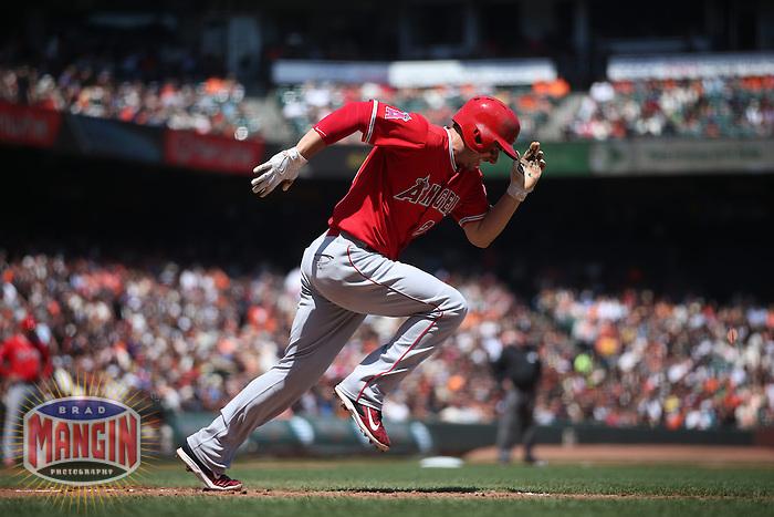 SAN FRANCISCO, CA - MAY 2:  Matt Joyce #20 of the Los Angeles Angels runs to first base against the San Francisco Giants during the game at AT&T Park on Saturday, May 2, 2015 in San Francisco, California. Photo by Brad Mangin