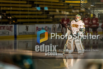 25 November 2016: University of Vermont Catamount Goaltender Madison Litchfield, a Senior from Williston, VT, is introduced prior to the start of play against the Saint Cloud State Huskies at Gutterson Fieldhouse in Burlington, Vermont. The Lady Cats defeated the Huskies 5-1 to take the first game of the 2016 Windjammer Classic Tournament. Mandatory Credit: Ed Wolfstein Photo *** RAW (NEF) Image File Available ***