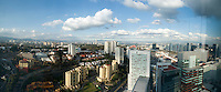 View of the DF from Mexico Citiy's Distrito Capital hotel from the Habita group.  Santa Fe, Mexico City