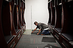 FRESNO, CA - AUGUST 11, 2014:   New carpet is laid in Fresno State's freshly remodeled football locker room. CREDIT: Max Whittaker for The New York Times