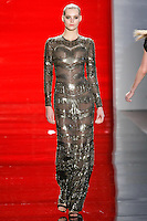 JuJu walks runway in a cafe mocha art deco long-sleeved beaded gown, from the Reem Acra Fall 2012 Feminine Power collection fashion show, during Mercedes-Benz Fashion Week New York Fall 2012 at Lincoln Center.