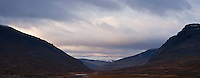 View down isolated mountain valley south of Singi, Kungsleden trail, Lapland, Sweden