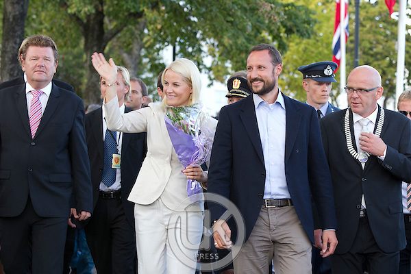 Crown Prince Haakon and Crown Princess Mette-Marit of Norway visit the town of Grimstad during a  three day visit, to the county of Aust-Agder in Southern Norway