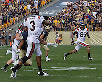 Virginia Tech quarterback Logan Thomas (3) passes to Corey Fuller (83). The Pitt Panthers defeated the Virginia Tech Hokies 35-17 at Heinz field in Pittsburgh, PA on September 15, 2012.