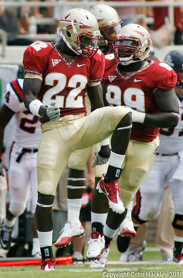TALLAHASSEE, FL 9/4/10-FSU-SAMFORD FB10 CH-Florida State's Telvin Smith celebrates a tackle against Samford during quarter action Saturday at Doak Campbell Stadium in Tallahassee. The Seminoles beat the Bulldogs 59-6 to give Head Coach Jimbo Fisher his first victory..COLIN HACKLEY PHOTO