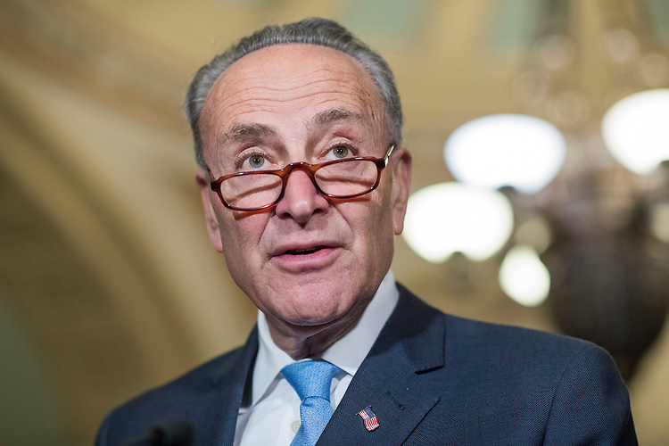 UNITED STATES - FEBRUARY 28: Senate Minority Leader Charles Schumer, D-N.Y., conducts a news conference after the Senate Policy luncheons in the Capitol, February 28, 2017. (Photo By Tom Williams/CQ Roll Call)