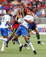 Ryan Johnson, Robbie Russell, Nat Borchers,Pablo Campos in the San Jose Earthquakes @ Real Salt Lake 1-1 draw at Rio Tinto Stadium in Sandy, Utah on July 03, 2009