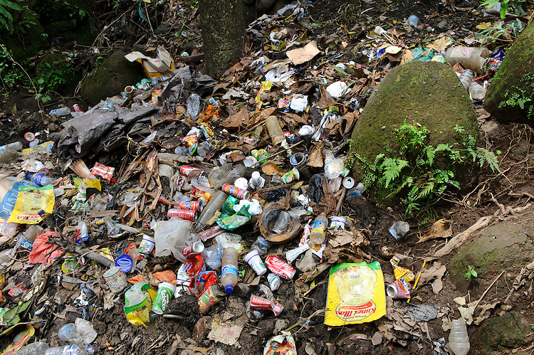 Discarded rubbish above a lake, nr Makassar, Sulawesi, Indonesia.