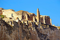 Remains of the Süleyman Mosque in the ancient citadel of Hasankeyf on the cliffs above the Tigris, Turkey