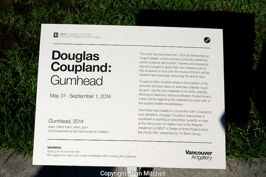 Description of the Gumhead sculpture by Douglas Coupland outside the Vancouver Art Gallery, Vancouver, BC, Canada