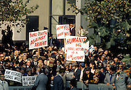 UN, New York, November, 13th, 1974. <br /> Crowd welcoming Yasser Arafat, the leader of PLO, before his speech at the UN General Assembly. The war of October 1973 altered perceptions of the PLO, afterwards being recognized by Arabic countries as &quot;the sole legitimate spokesman of the Palestinian people&quot;, and by having links with Moscow strengthened. Arafat helped international relations by coming to UN headquarters to speak, the first by a non-governmental organization.