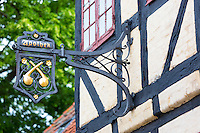 Ancient Apothek Apothecary sign on old  in Holkebade at Faaborg on Funen, Denmark