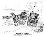 """Brothers in Adversity. Farmer. """"Pull up, you fool! The mare's bolting!"""" Motorist. """"So's the car!"""" (an early motoring street scene)"""