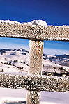 Wyoming: Yellowstone National Park.  Hoar frost on fence in winter.  Photo #: wyyelw104..Photo copyright Lee Foster, www.fostertravel.com, 510/549-2202, lee@fostertravel.com