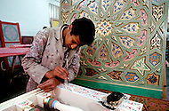 March, 1989, Casablanca, Morocco. Artcraft masters and artists working on the art labor for the construction of Hassan II Mosque. The mosque was completed in 1993.