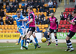 St Johnstone v Dundee&hellip;11.03.17     SPFL    McDiarmid Park<br />Steven MacLean&rsquo;s shot is saved by Scott Bain<br />Picture by Graeme Hart.<br />Copyright Perthshire Picture Agency<br />Tel: 01738 623350  Mobile: 07990 594431
