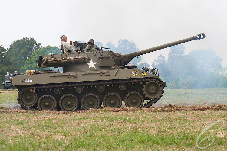 "Reenactors showcase World War II tanks, half-tracks and support vehicles during the Museum of the America G.I.'s annual Open House on March 29, 2008 in College Station, Texas. This vehicle is a M18 ""Hellcat"" Tank Destroyer."