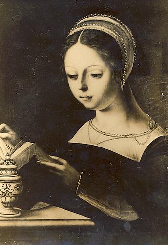 La Madeleine, madera 26x21, atribuido a Jan van  Hemessen .  (Photographie de A. Fage). Pages de France no. 3.050