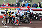 Heat 7: Klindt (white), Robson (blue) and Shields - Lakeside Hammers vs Wolverhampton Wolves - Sky Sports Elite League Speedway at Arena Essex Raceway, Purfleet - 24/05/10 - MANDATORY CREDIT: Gavin Ellis/TGSPHOTO - Self billing applies where appropriate - Tel: 0845 094 6026