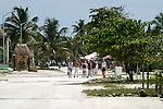 Cruise line visitors explore the small town of Costa Maya, Mexico on the cost of the Mexican Riveria south of Cancun.