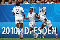 USA's Zakiya Bywaters (C) celebrates after scoring 3:0 with Toni Pressley (L) and Crystal Dunn (R) during the FIFA U20 Women's World Cup at the Rudolf Harbig Stadium in Dresden, Germany on July 17th, 2010.