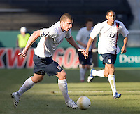 Kenny Cooper dribbles upfield. The USA defeated Denmark 3-1 in an International friendly at the Home Depot Center in Carson, CA on January 20, 2007.