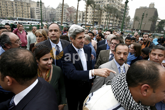 US senator John Kerry greets Egyptians as he visits Tahrir Square, the focal point of Egyptian uprising, in Cairo, Egypt, Sunday, March 20, 2011. Kerry hold talks with Egypt's military rulers, the Supreme Council of the Armed Forces, and Prime Minister Essam Sharaf. Photo by Wissam Nassar