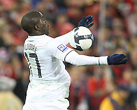 Jozy Altidore #17 of the USA pulls down a high ball during a 2010 World Cup qualifying match against Costa Rica in the CONCACAF region at RFK Stadium on October 14 2009, in Washington D.C.The match ended in a 2-2 tie.