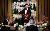 Prime Minister Justin Trudeau of Canada, center, offers a toast to United States President Barack Obama during a state dinner honoring himself and his wife Mrs. Sophie Gr&eacute;goire Trudeau, right, at the White House March 10, 2016 in Washington, DC. <br /> Credit: Olivier Douliery / Pool via CNP