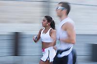 Participants run during the Budapest Half Marathon in Budapest, Hungary on September 13, 2015. ATTILA VOLGYI