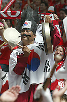 Korea Republic fans celebrate at the start of their game against Togo. Korea Republic defeated Togo 2-1 in their FIFA World Cup Group G match at the FIFA World Cup Stadium, Frankfurt, Germany, June 13, 2006.