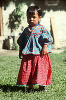 Portrait of a girl. Wixarika (Huichol) community in the Sierra Madre Occidental, Mexico