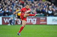 Quade Cooper of Toulon kicks the ball. European Rugby Champions Cup match, between Bath Rugby and RC Toulon on January 23, 2016 at the Recreation Ground in Bath, England. Photo by: Patrick Khachfe / Onside Images