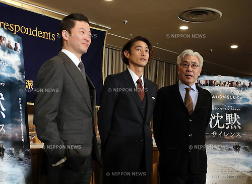 """January 12, 2017, Tokyo, Japan - Japanese casts of the U.S. movie """"Silence"""" (L-R) Tadanobu Asano, Yosuke Kubozuka and Issey Ogata pose for photo after they spoke before foreign journalists in Tokyo on Thursday, January 12, 2017. The movie """"Silence"""", written by Japanese author Shusaku Endo and directed by Martin Scorsese of the United States, will be screening in Japan from January 21.   (Photo by Yoshio Tsunoda/AFLO) LWX -ytd-"""