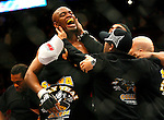 March 1, 2008; Columbus, OH; UFC 82: Pride of a Champion - UFC Middleweight Champion Anderson Silva celebrates after defeating Dan Henderson via rear naked choke submission in the second round of their bout at the Nationwide Arena in Columbus, OH.