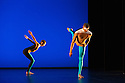 """London, UK. 20.11.2013. Michael Clark Company in a piece set to """"Albatross"""" by Public Image Limited, at the Barbican. Dancers are: Harry Alexander, Julie Cunningham, Melissa Hetherington, Oxana Panchenko, Daniel Squire and Benjamin Warbis.  Picture shows: Julie Cunningham and Harry Alexander. Photograph © Jane Hobson."""