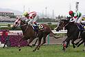 (L-R) Reine Minoru (Kenichi Ikezoe), Lys Gracieux (Yutaka Take),<br /> APRIL 9, 2017 - Horse Racing :<br /> Reine Minoru ridden by Kenichi Ikezoe wins the Oka Sho (Japanese 1000 Guineas) at Hanshin Racecourse in Hyogo, Japan. (Photo by Eiichi Yamane/AFLO)