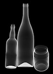 X-ray image of glass bottles and jar (white on black) by Jim Wehtje, specialist in x-ray art and design images.